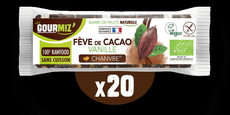 Barre Gourmiz' : fève de cacao - vanille - chanvre