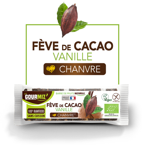 Gourmiz barre fève de cacao - vanille - chanvre