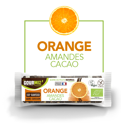 Gourmiz barre orange - amandes - cacao